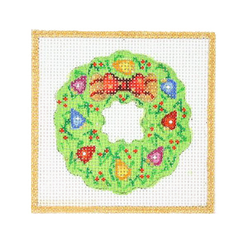 BB 3187 - Square Ornament - Wreath with Christmas Lights & Bow