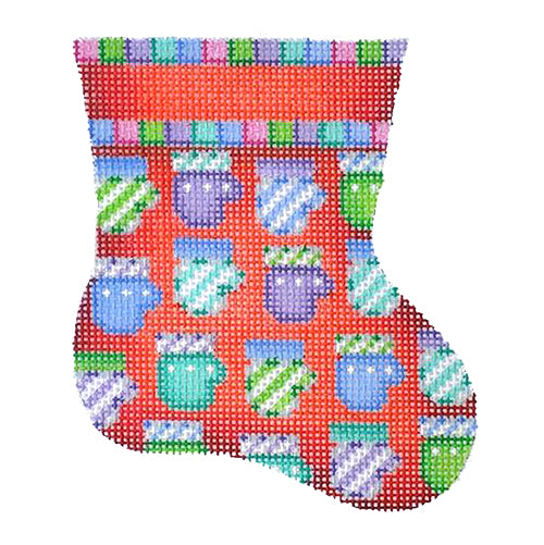 BB 6001 - Mini Stocking - Red with Mittens