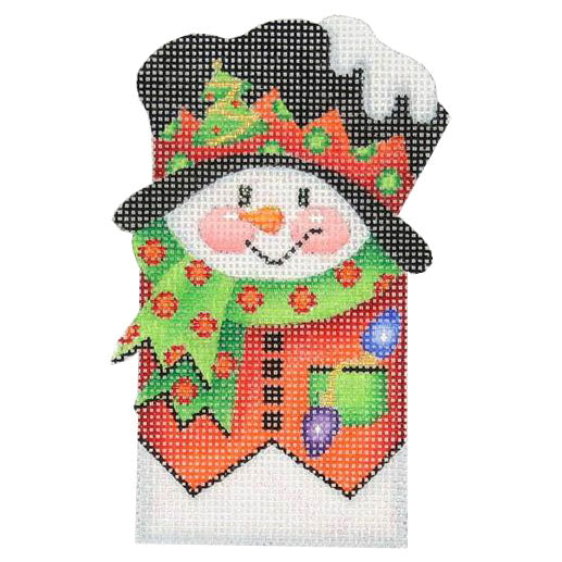BB 0034 - Snowman Picket - Red Vest & Polka Dot Scarf