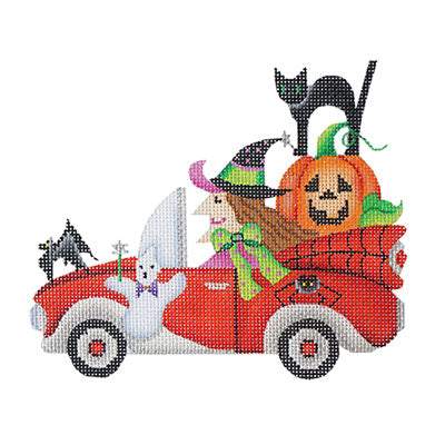 BB 6032 - Halloween Car - Witch in Red Sports Car
