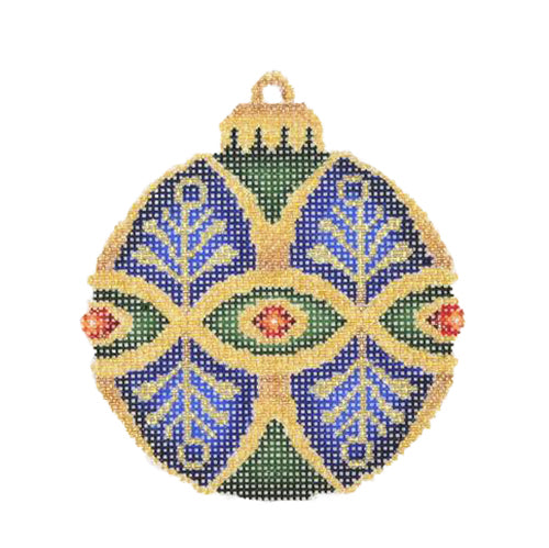 BB 1390 - Jeweled Christmas Ball - Blue, Dark Green & Gold