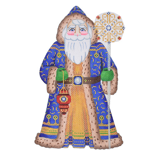 BB 6005 Large Santa - Royal Blue Coat Holding Ornament