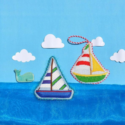 BB 1637 - By the Sea - Blue, Green & Purple Sailboat