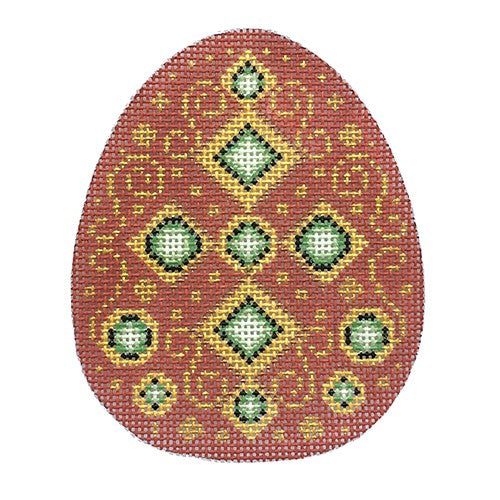 BB 2688 - Jeweled Egg - Rust & Gold