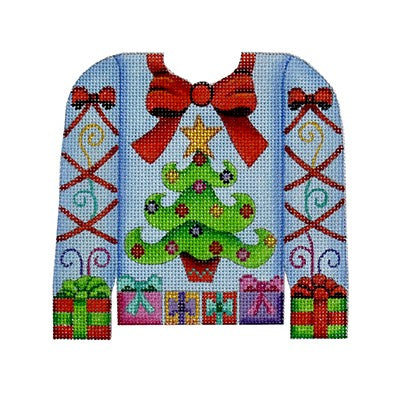 BB 3104 - Christmas Sweater - Tree & Presents on Pale Blue