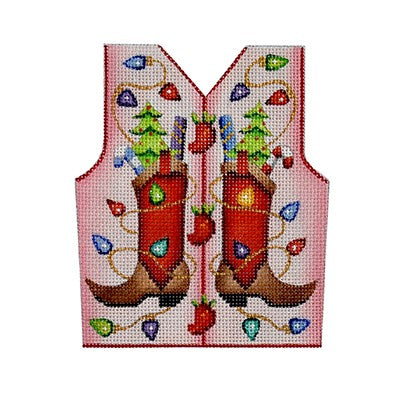 BB 3111 - Christmas Vest - Cowboy Boots & Christmas Lights on Pale Pink