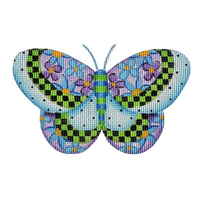 BB 3153 - Butterfly - Blue with Purple & Blue Flowers