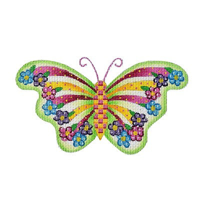 BB 3154 - Butterfly - Green with Yellow & Pink Stripes