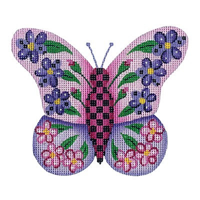 BB 3158 - Butterfly - Pink & Purple with Purple & Pink Flowers