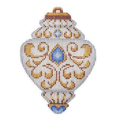 BB 3221 - White & Gold Ornament - Aquamarine Jewels