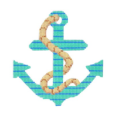 BB 6095 - Anchors - Seafoam & Blue Stripe with Rope