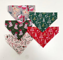 Load image into Gallery viewer, Glittery Christmas Bandana - Red