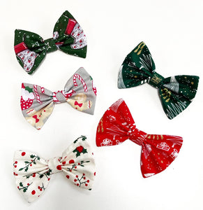 Glittery Christmas Bow Tie - Red