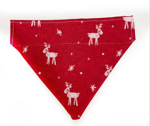 Christmas Dog Bandana - Red with reindeer and Christmas tree pattern