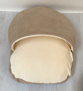 *New Style* Luxury Cosy Cave Bed - Brown/Cream
