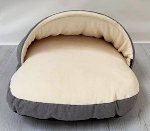 *New Style* Luxury Cosy Cave Bed - Grey/Cream