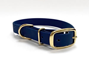 Biothane Waterproof Collar - Navy/Brass