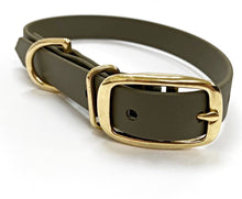Load image into Gallery viewer, Biothane Waterproof Collar - Olive Green/Brass