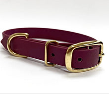 Load image into Gallery viewer, Biothane Waterproof Collar - Wine Red/Brass