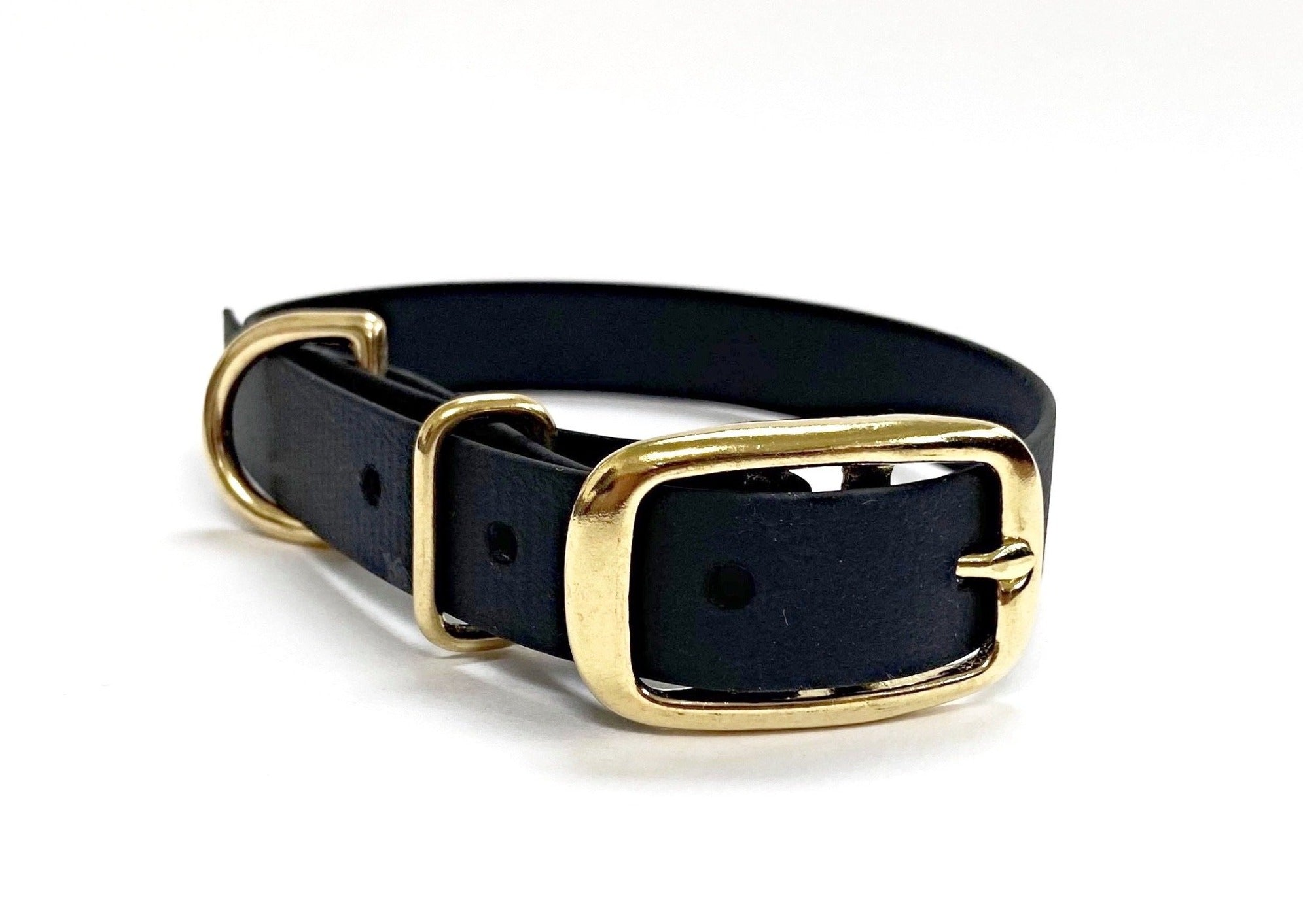 Biothane Waterproof Collar - Black/Brass