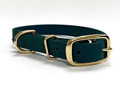 Biothane Waterproof Collar - Forest Green/Brass