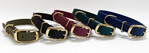 Biothane Waterproof Collar - Wine Red/Brass