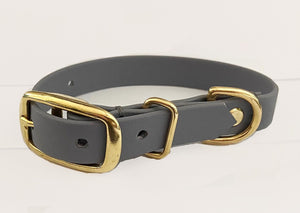 Biothane Waterproof Collar - Lilac Grey/Brass