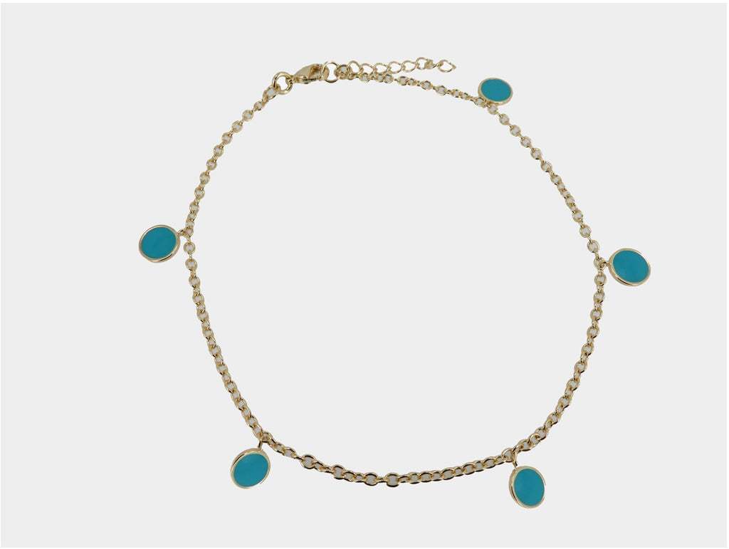 Turquoise Disc Anklet