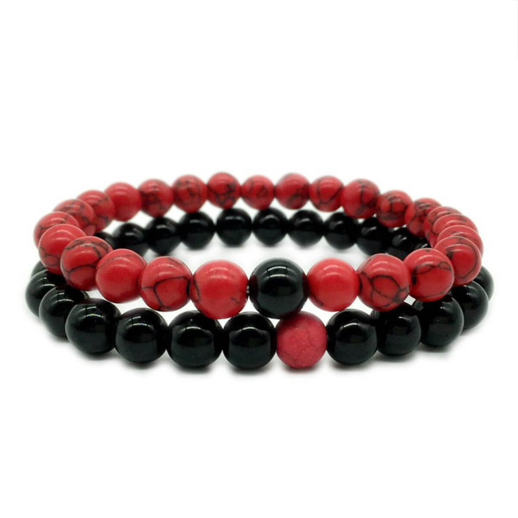 Couple's Red Turquoise & Black Agate Bracelet - Kyra - Pinklouds