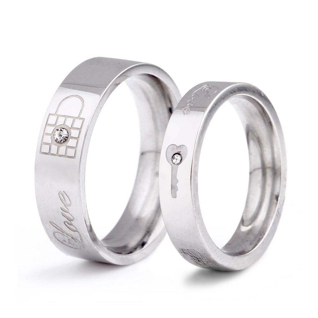 Couple's Key & Lock Artificial Diamond Promise Ring - Kayla - Pinklouds