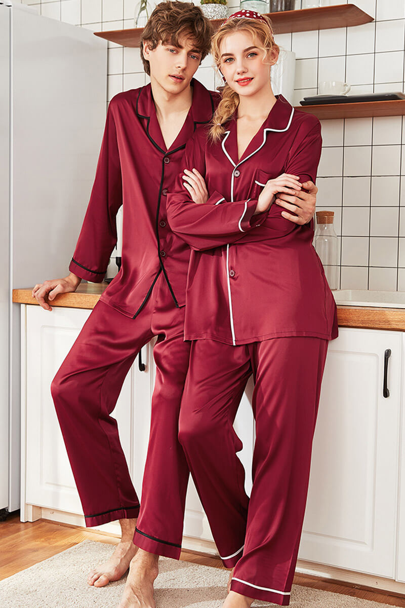 Red Lapel Solid Color Couple Matching Pajamas