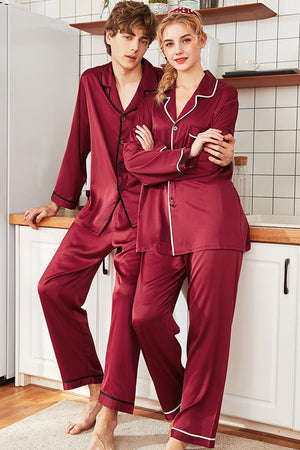 Lapel Solid Color Couple Matching Pajamas - Landry - Pinklouds