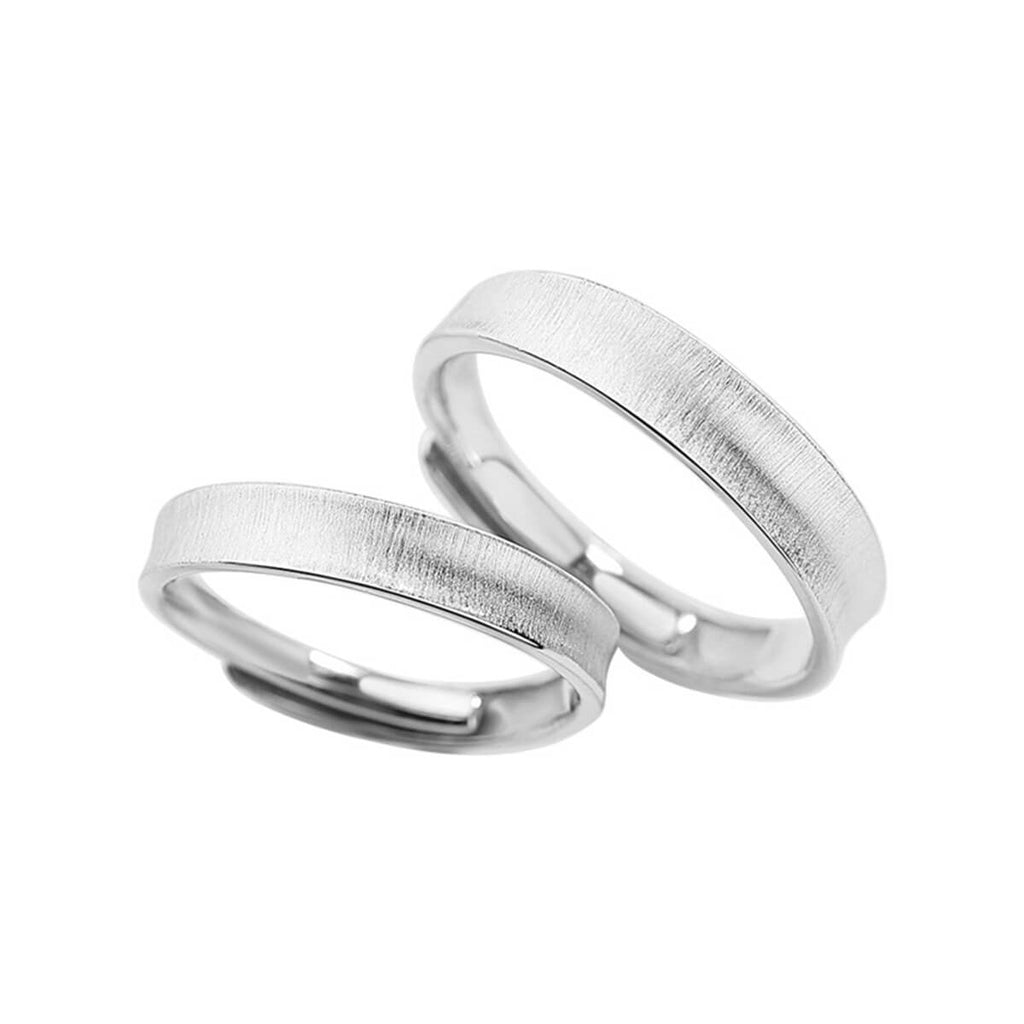 Couple's Adjustable Plain Silver Lettering Promise Ring - Felicia - Pinklouds