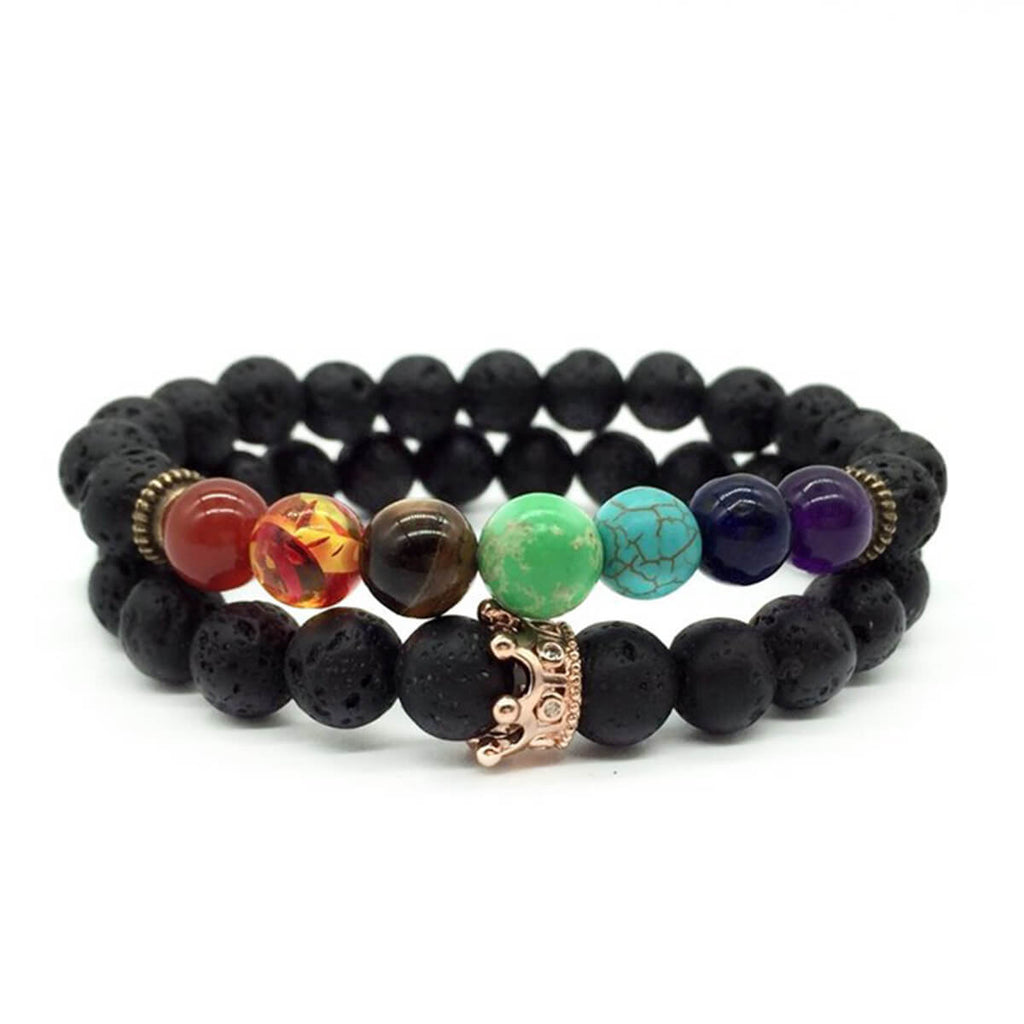 Couple's Lava Rock Gemstone Bracelet - Anna - Pinklouds