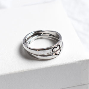 Couple's Adjustable Heart-Shape Stitching Promise Ring - Fiona - Pinklouds