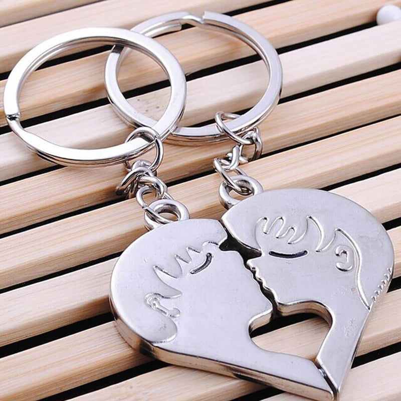 Couple's Kiss Heart Puzzle Zinc Alloy Keychain - Alexis - Pinklouds