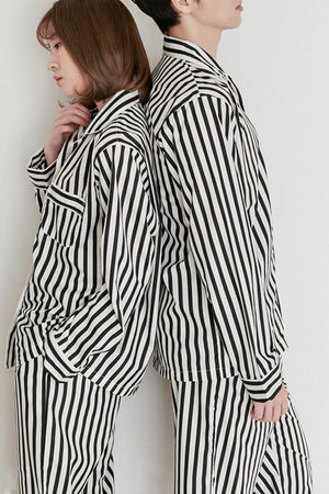 Cotton Striped Couple Pajamas - Laine and Charlie - Pinklouds