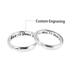 Couple's Graphics Engraved Promise Ring - Indira - Pinklouds