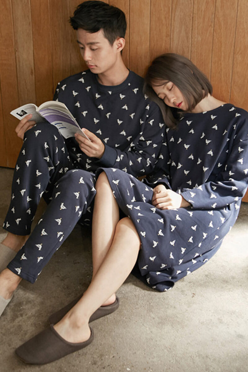 Comfortable Cotton Couple Pajamas - Kassia and Abbot - Pinklouds
