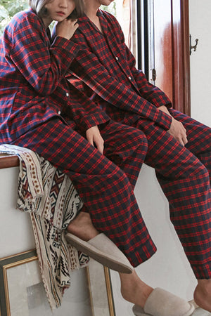 Comfortable Plaid Couple Pajamas - Elaine - Pinklouds