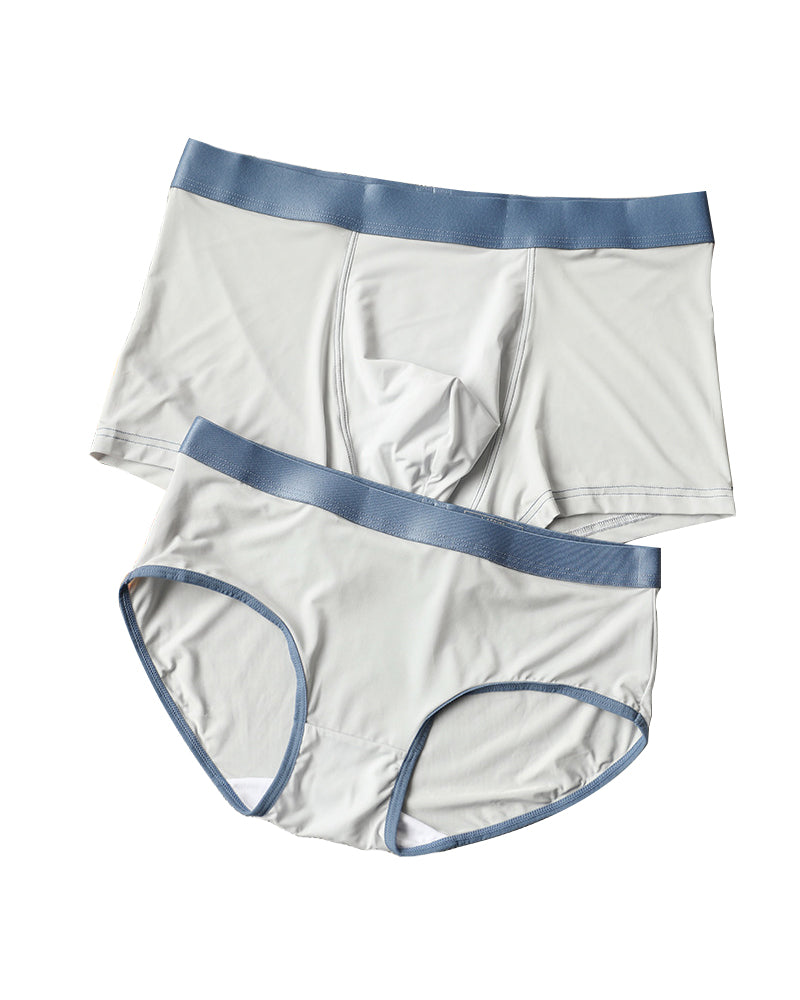 Blue Ice Silk Couple Underwear-His & Her Matching Apparel-Pinklouds