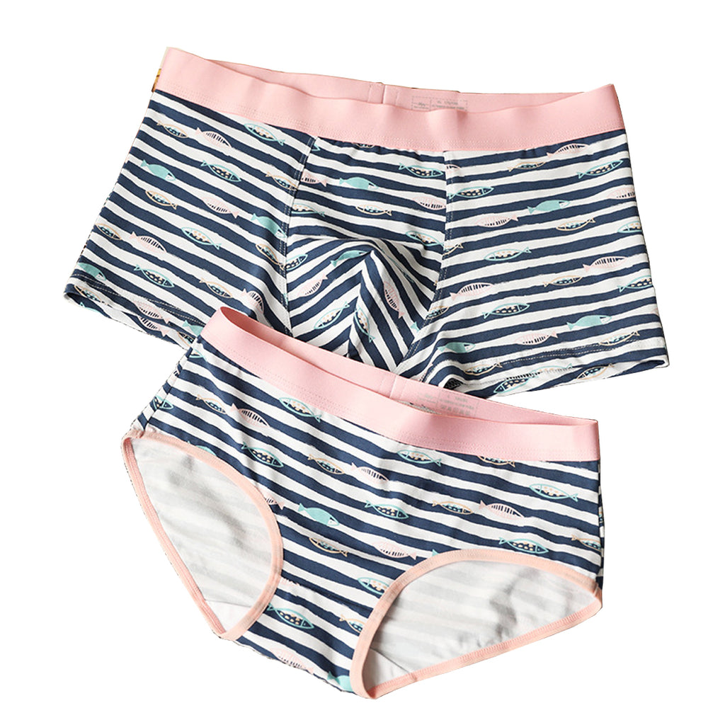 Pinklouds™ Stripes and Fish Pattern Couple Matching Underwear - Blue Time