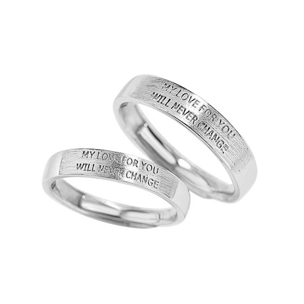 Couple's Adjustable Lettering Promise Ring - Quella - Pinklouds