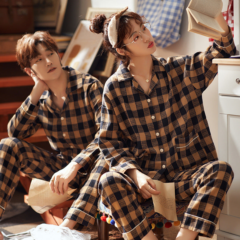 Classic grid Couple Long Sleeve Shirt & Pants Matching Pajama