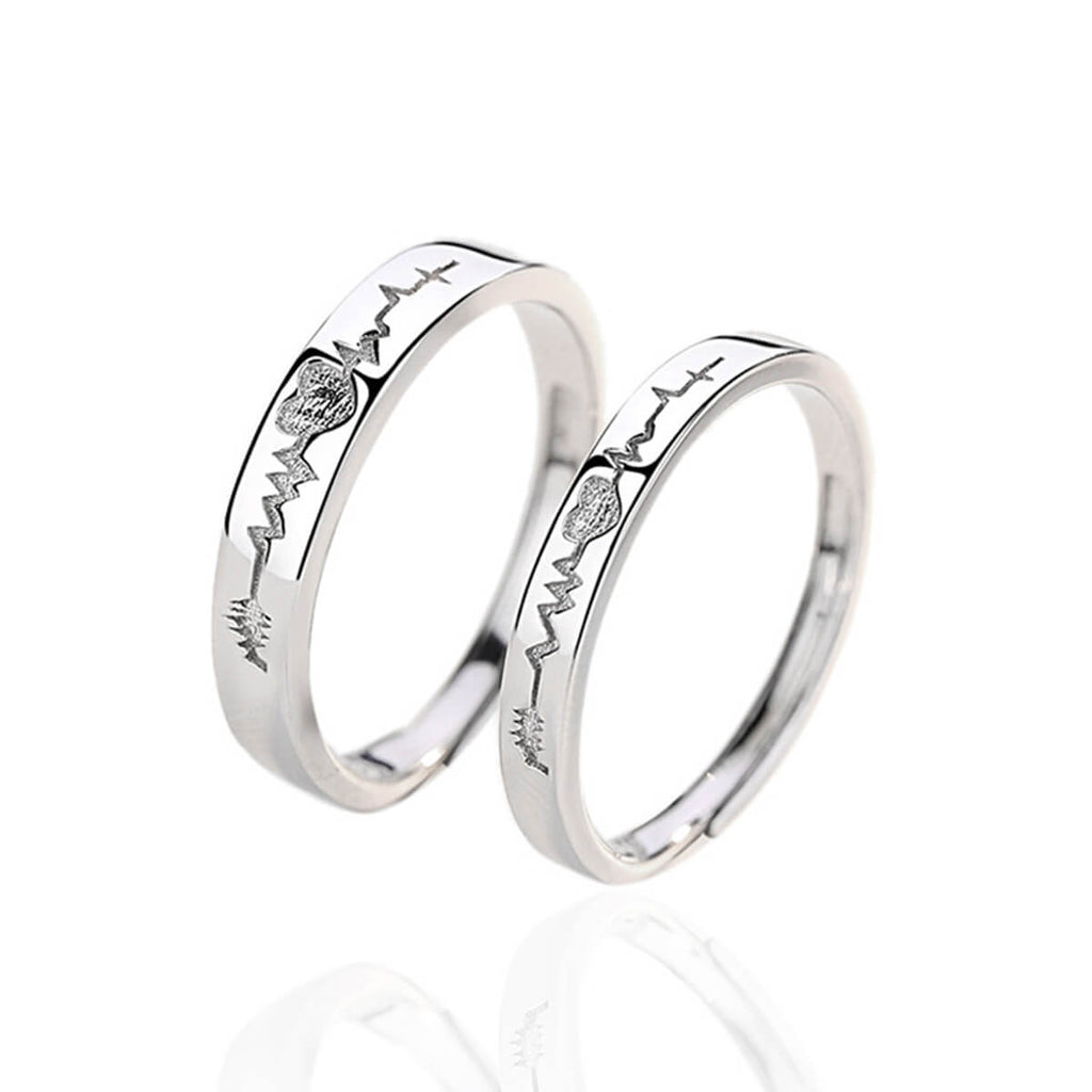 Couple's Adjustable Heartbeat ECG Pattern Promise Ring - Cassiel - Pinklouds