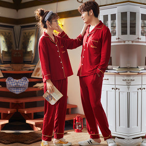 Red happiness Couple Long Sleeve Shirt & Pants Matching Pajama