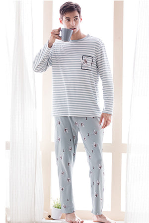 Cotton Stripes Couple Matching Pajamas - Ramel - Pinklouds
