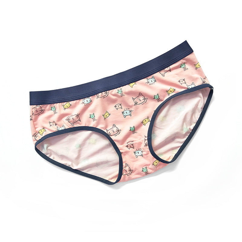 Modal Cotton Couple Matching Underwear - Pink Cat - Pinklouds