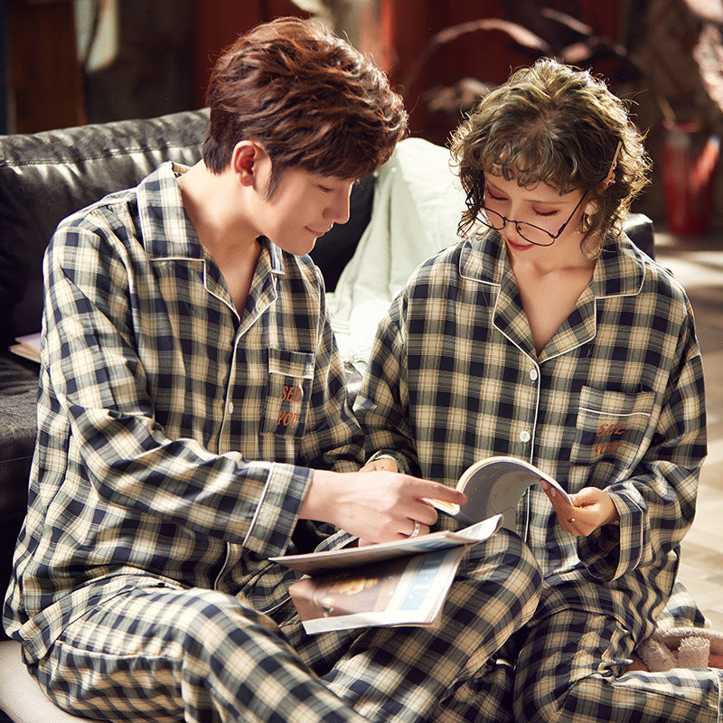 See you Couple Long Sleeve Shirt & Pants Matching Pajama