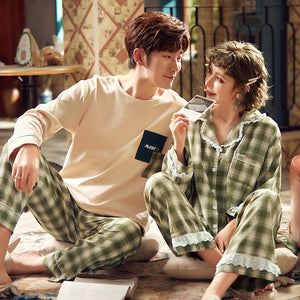 Maby Couple Long Sleeve Shirt & Pants Matching Pajama